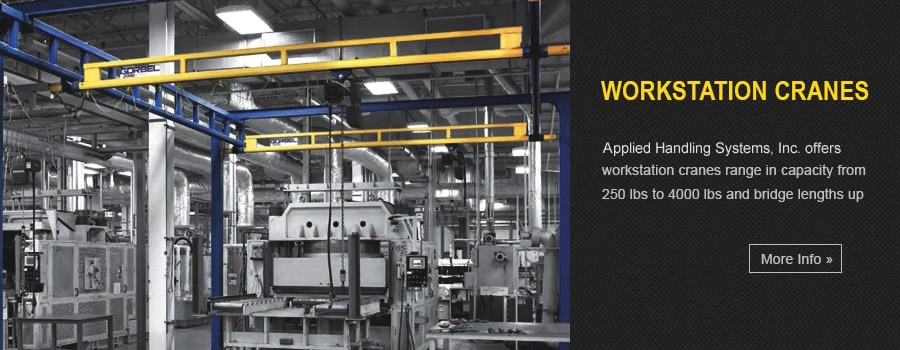 Workstation Cranes - Our Gorbel workstation cranes range in capacity from 250 lbs to 4000 lbs and bridge lengths up to 34 feet.